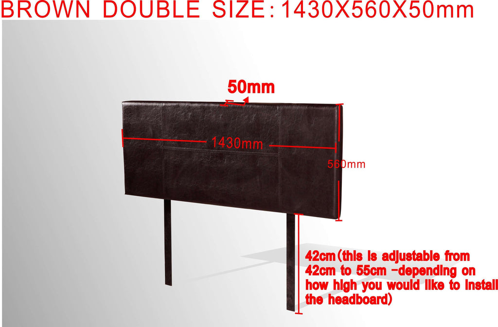 PU Leather Double Bed Headboard Bedhead - Brown - Desirable Home Living
