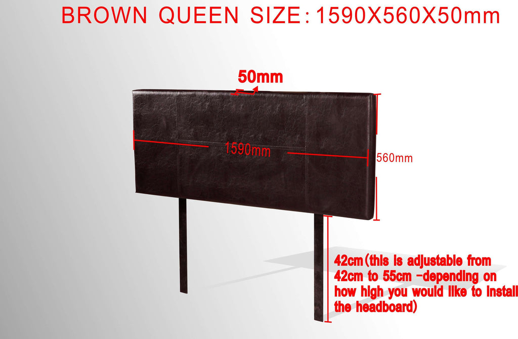 PU Leather Queen Bed Headboard Bedhead - Brown - Desirable Home Living