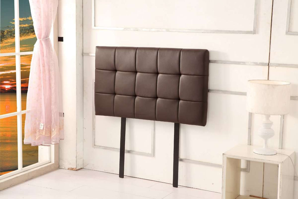 PU Leather Single Bed Deluxe Headboard Bedhead - Brown - Desirable Home Living