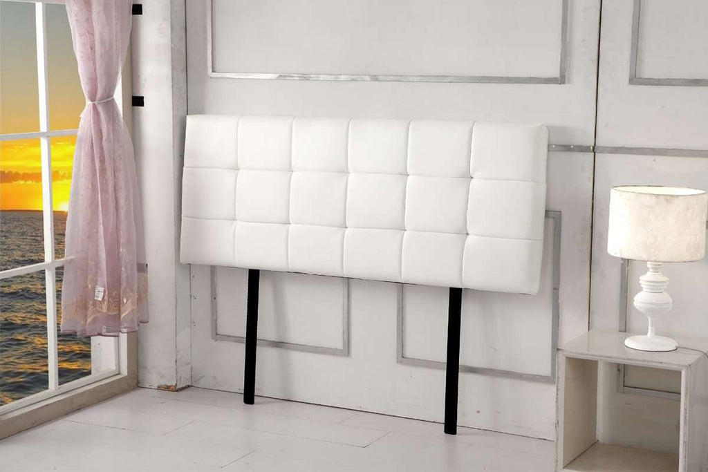 PU Leather Double Bed Deluxe Headboard Bedhead - White - Desirable Home Living