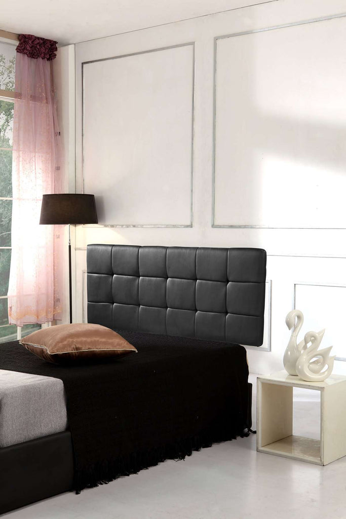 PU Leather Queen Bed Deluxe Headboard Bedhead - Black
