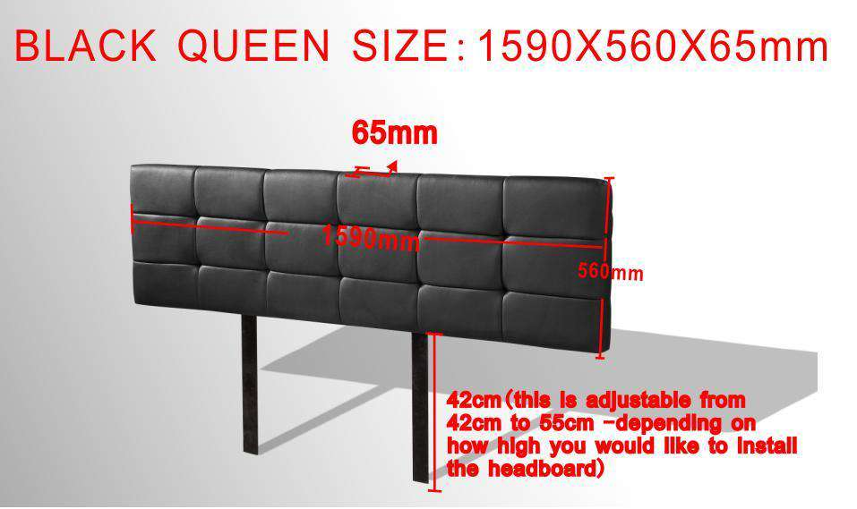 PU Leather Queen Bed Deluxe Headboard Bedhead - Black - Desirable Home Living