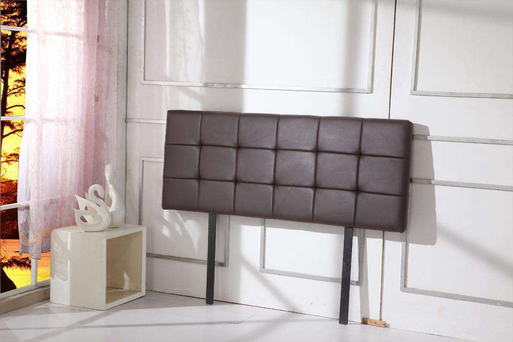 PU Leather Queen Bed Deluxe Headboard Bedhead - Brown - Desirable Home Living