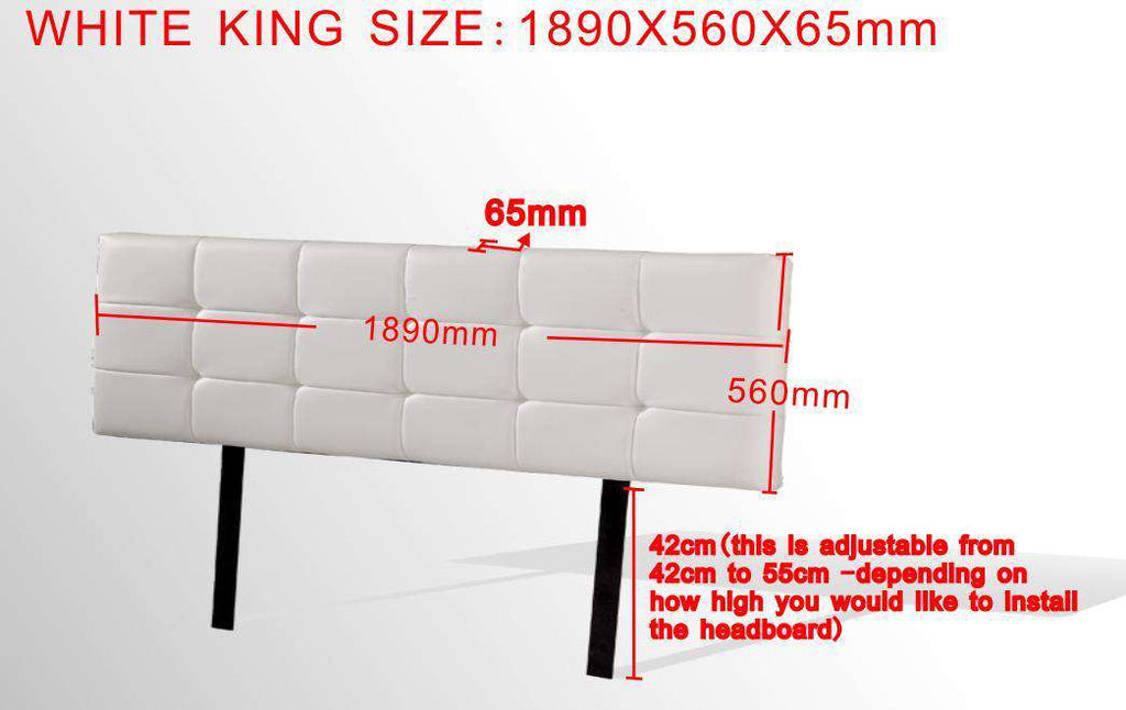 PU Leather King Bed Deluxe Headboard Bedhead - White - Desirable Home Living