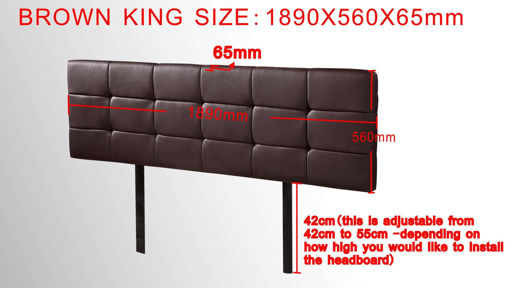 PU Leather King Bed Deluxe Headboard Bedhead - Brown - Desirable Home Living