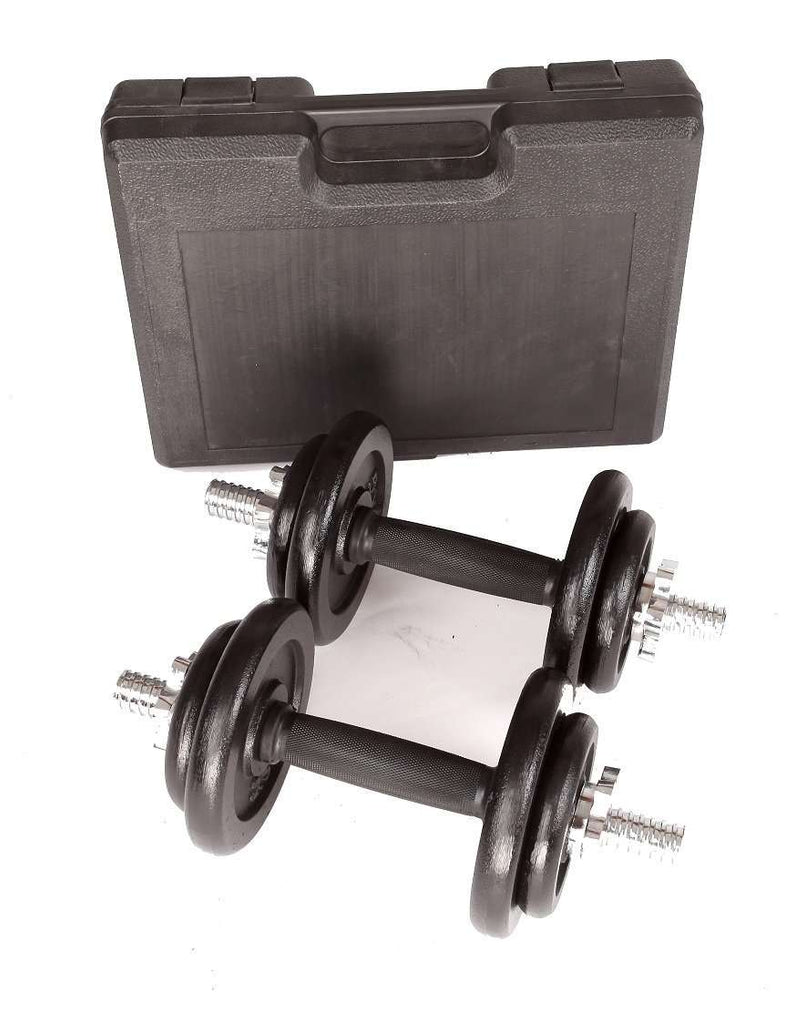 20kg Black Dumbbell Set with Carrying Case - Desirable Home Living