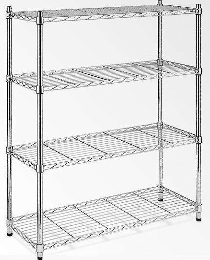 Modular Chrome Wire Storage Shelf 900 x 350 x 1800 Steel Shelving