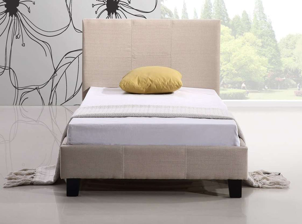 Single Linen Fabric Bed Frame Beige - Desirable Home Living
