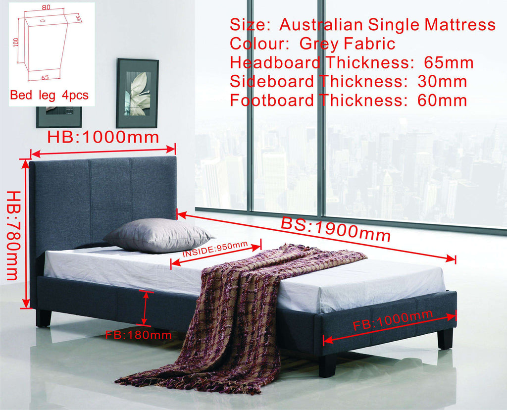 Single Linen Fabric Bed Frame Grey - Desirable Home Living