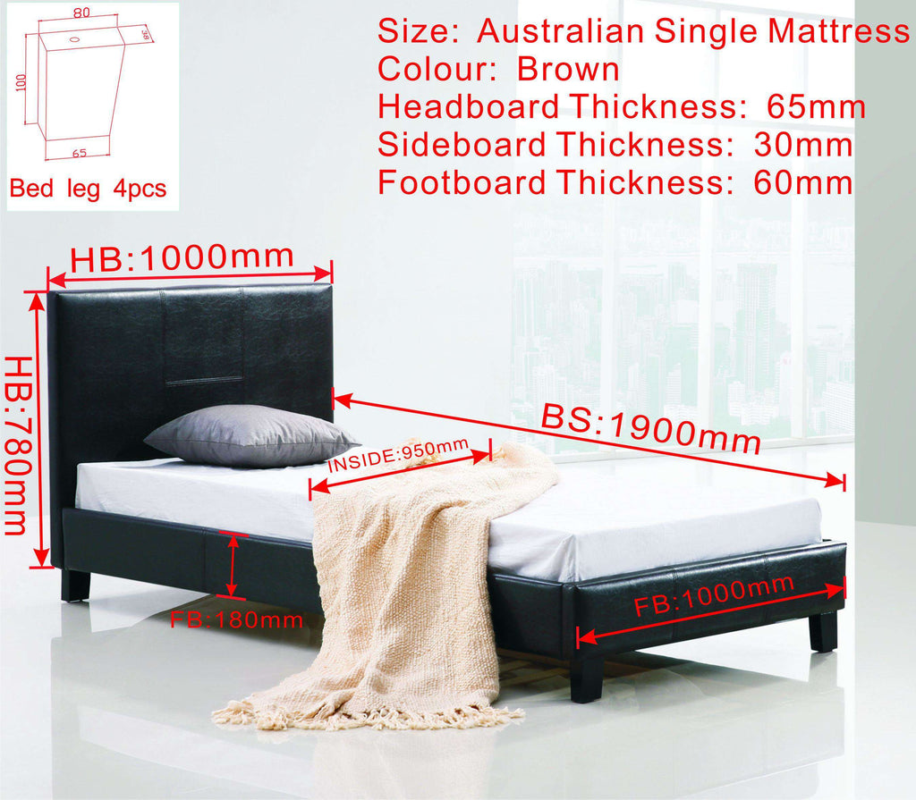 Single PU Leather Bed Frame Brown - Desirable Home Living