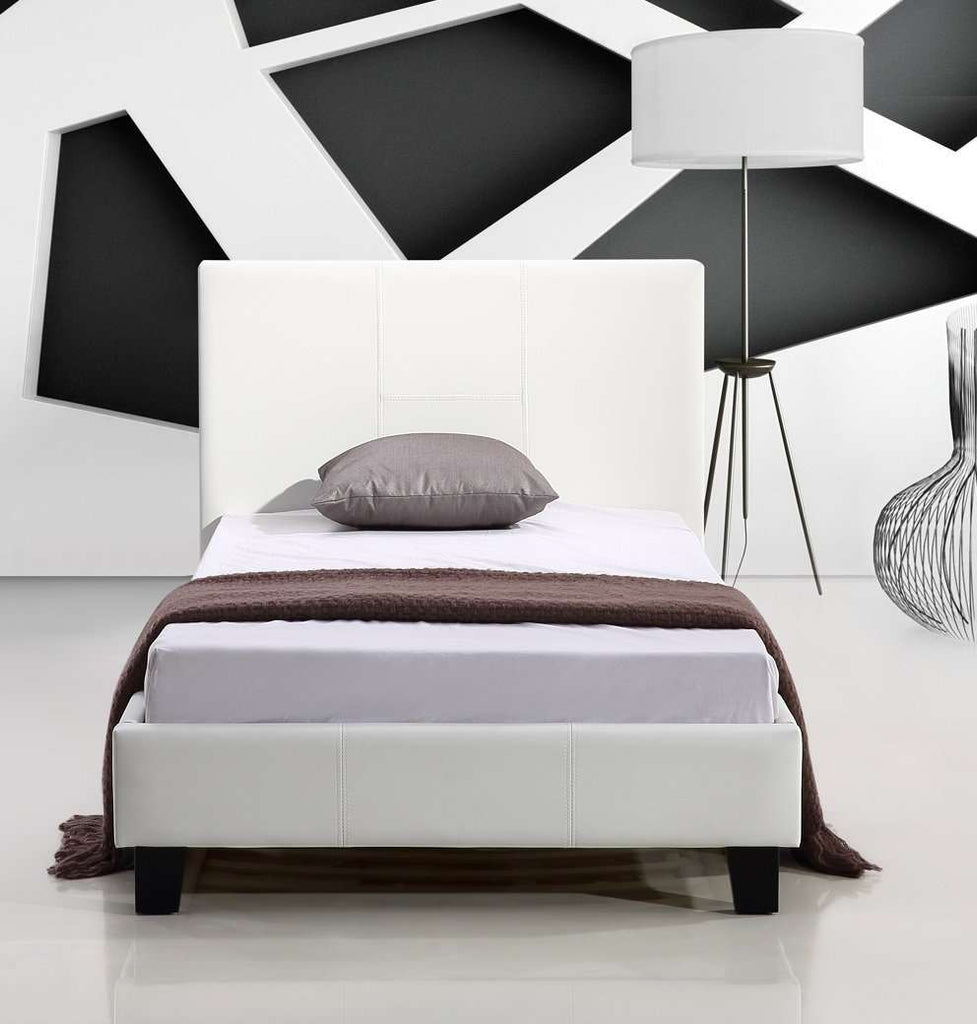 Single PU Leather Bed Frame White - Desirable Home Living