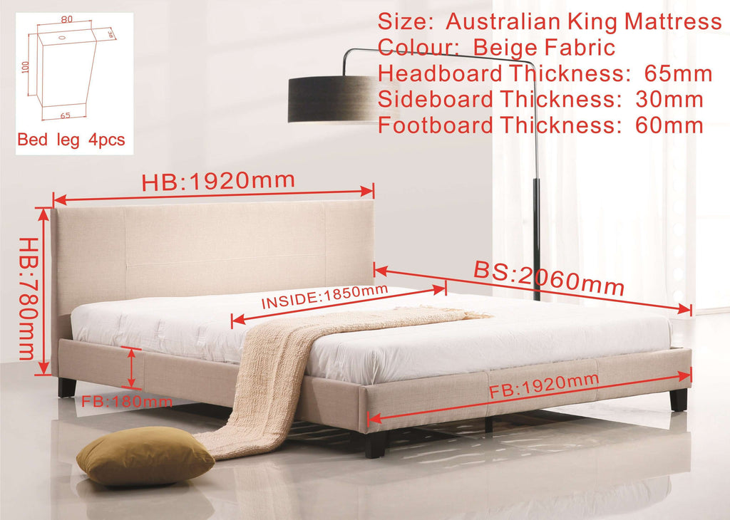King Linen Fabric Bed Frame Beige - Desirable Home Living