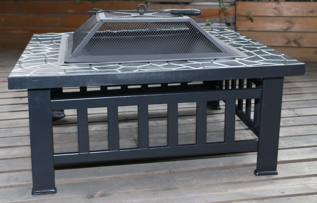 "18"" Square Metal Fire Pit Outdoor Heater - Desirable Home Living"