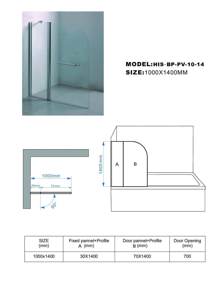 180° Pivot Door 6mm Safety Glass Bath Shower Screen 1000x1400mm By Della Francesca - Desirable Home Living