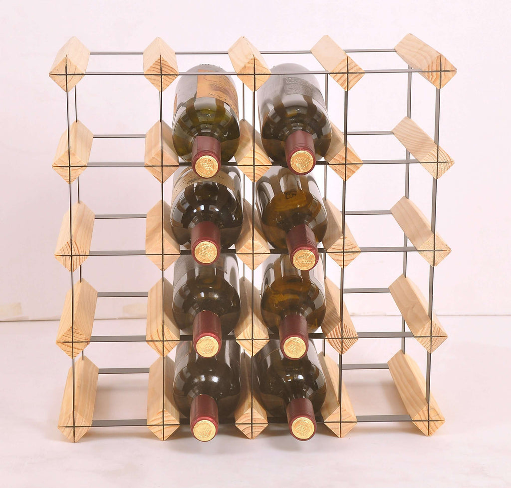 20 Bottle Timber Wine Rack - Complete Wooden Wine Storage System - Desirable Home Living