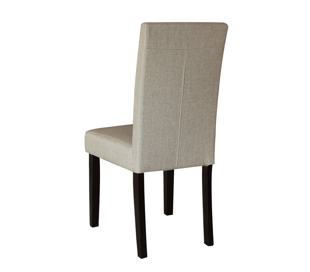 2 x Premium Fabric Linen Palermo Dining Chairs High Back - Dark Sandy Brown - Desirable Home Living