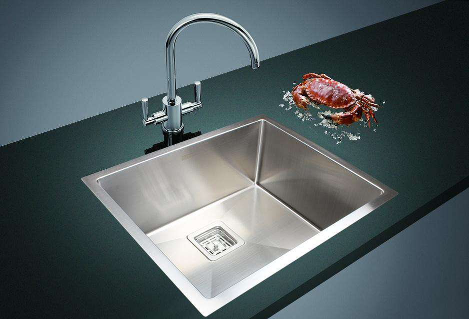 550x455mm Handmade 1.5mm Stainless Steel Undermount / Topmount Kitchen Sink with Square Waste
