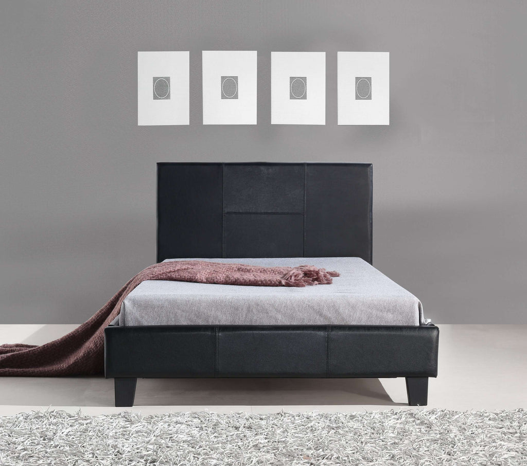 King Single PU Leather Bed Frame Black - Desirable Home Living