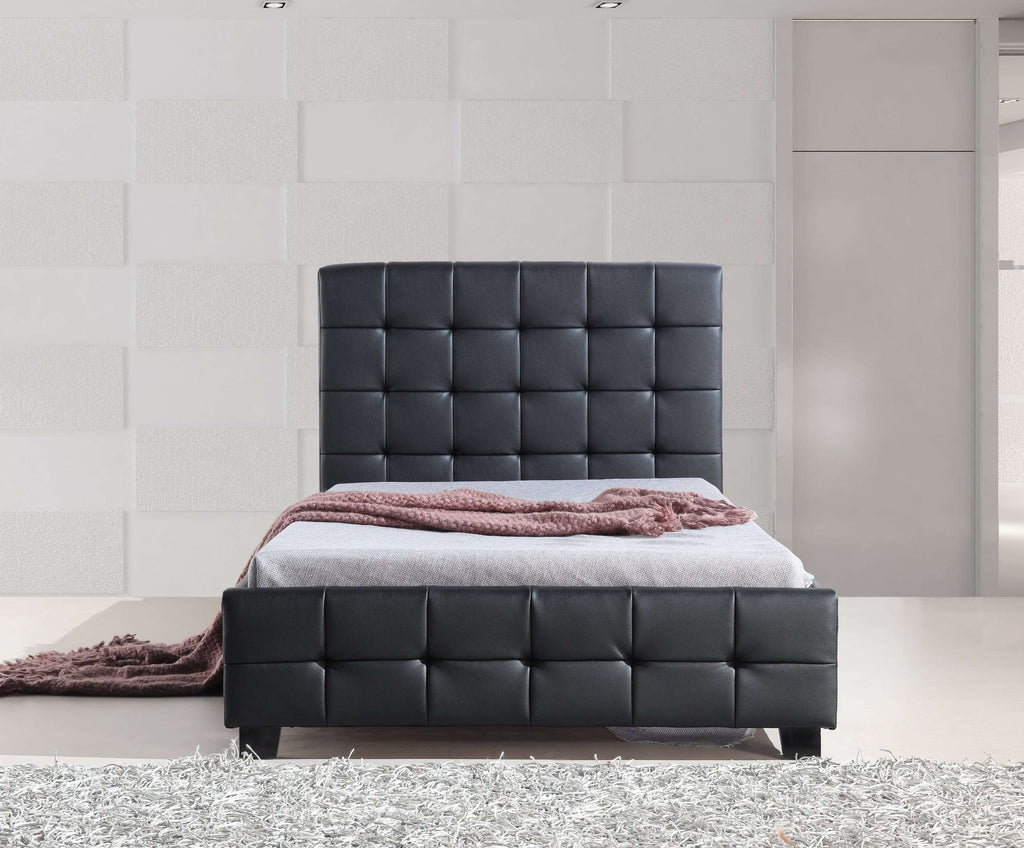 King Single PU Leather Deluxe Bed Frame Black - Desirable Home Living