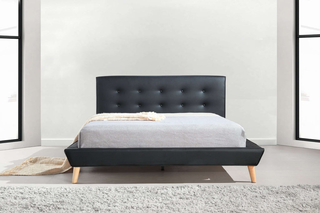 Double PU Leather Deluxe Bed Frame Black - Desirable Home Living