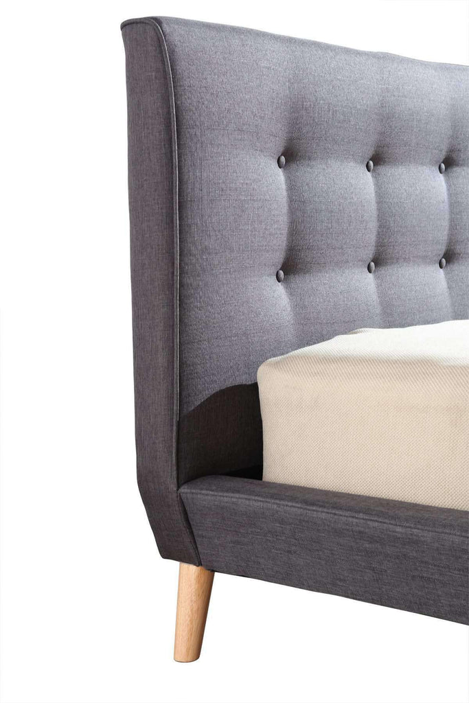 Queen Linen Fabric Deluxe Bed Frame Grey - Desirable Home Living