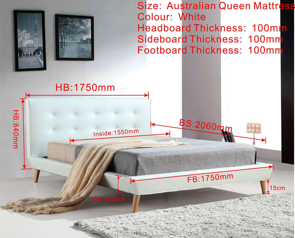 Queen PU Leather Deluxe Bed Frame White - Desirable Home Living