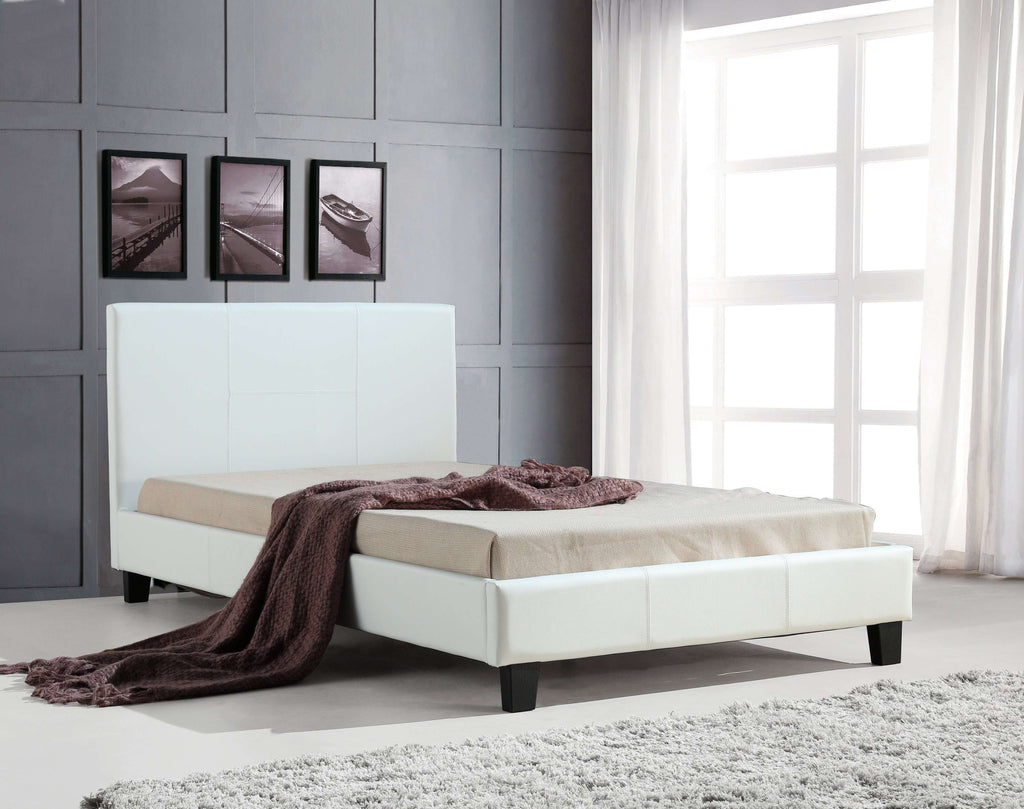 King Single PU Leather Bed Frame White