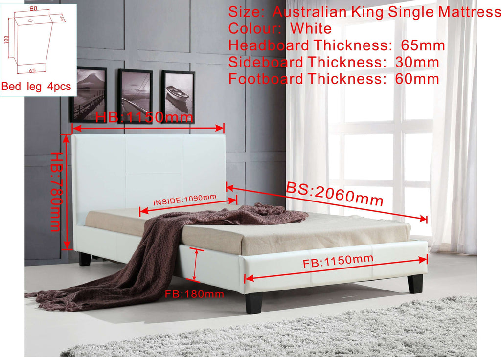 King Single PU Leather Bed Frame White - Desirable Home Living