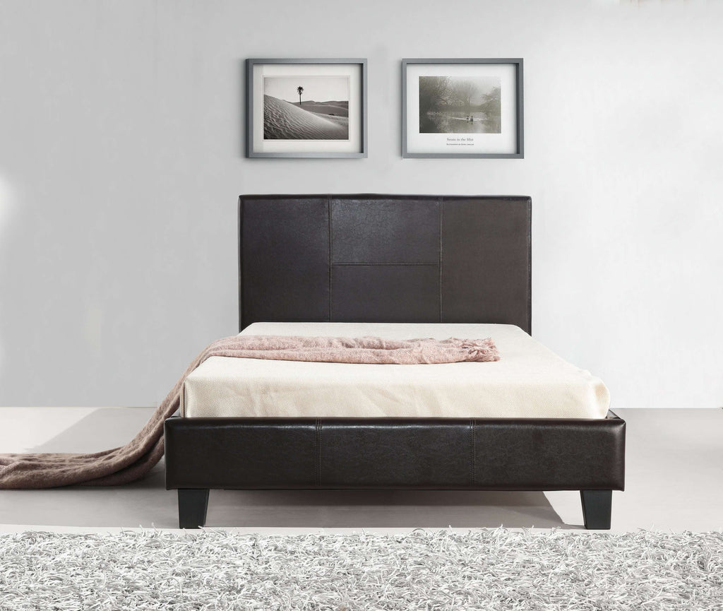 King Single PU Leather Bed Frame Brown - Desirable Home Living
