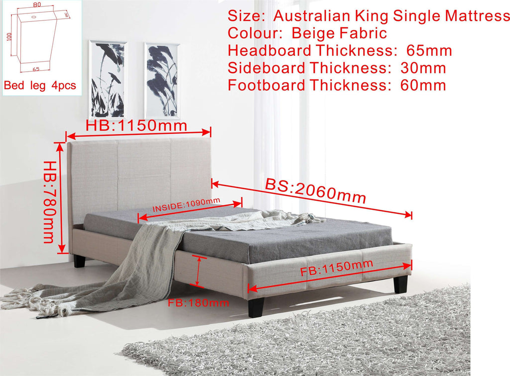 King Single Linen Fabric Bed Frame Beige - Desirable Home Living