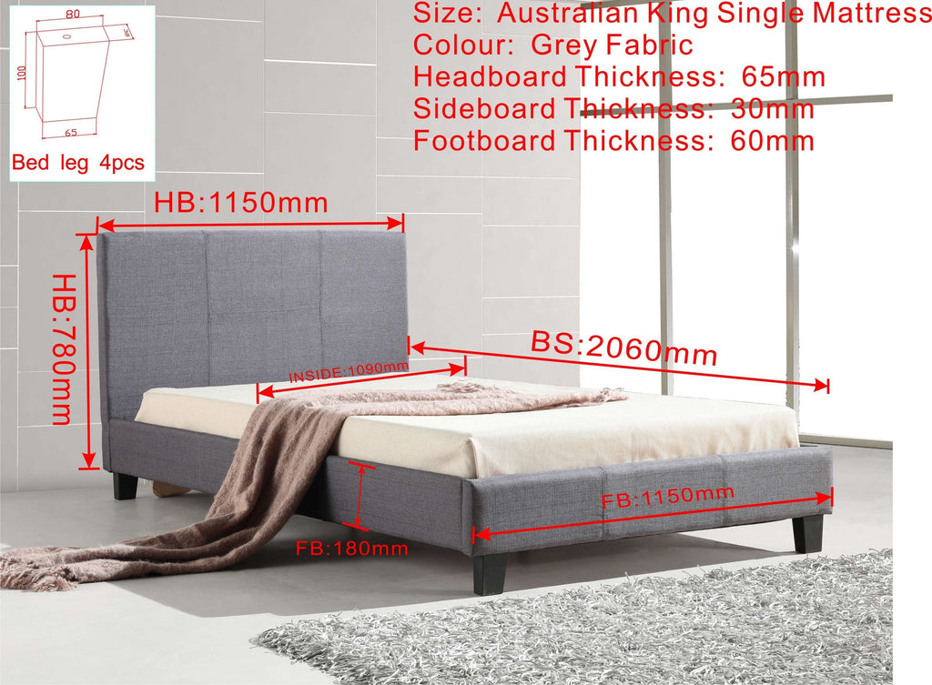 King Single Linen Fabric Bed Frame Grey - Desirable Home Living