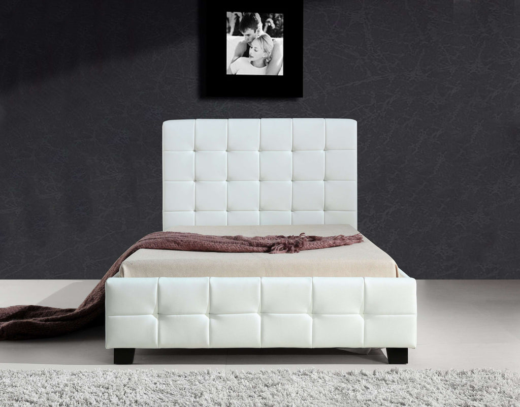 King Single PU Leather Deluxe Bed Frame White - Desirable Home Living