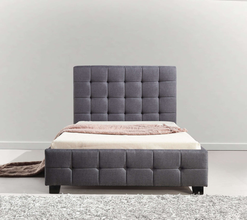 King Single Linen Fabric Deluxe Bed Frame Grey - Desirable Home Living
