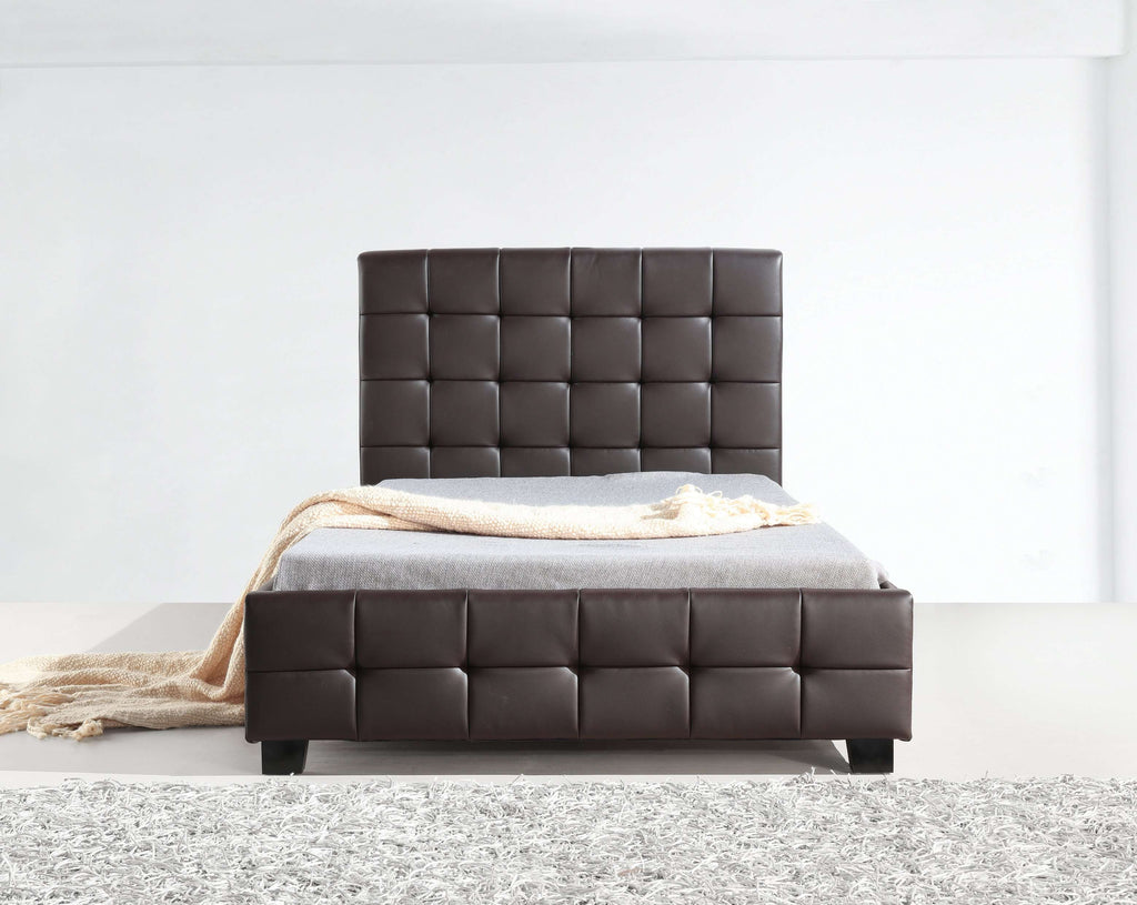 King Single PU Leather Deluxe Bed Frame Brown - Desirable Home Living