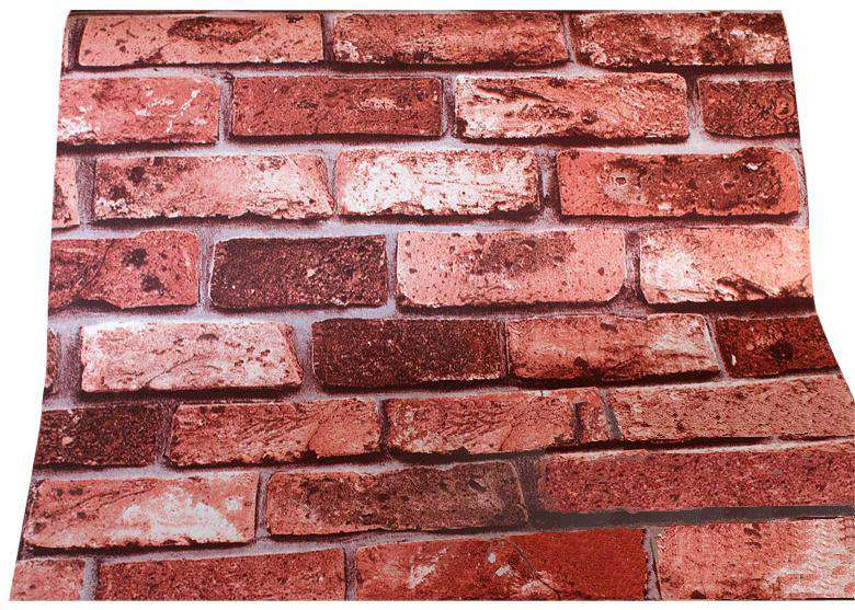 10m 3D Red Brick Print Theme Wallpaper - Desirable Home Living