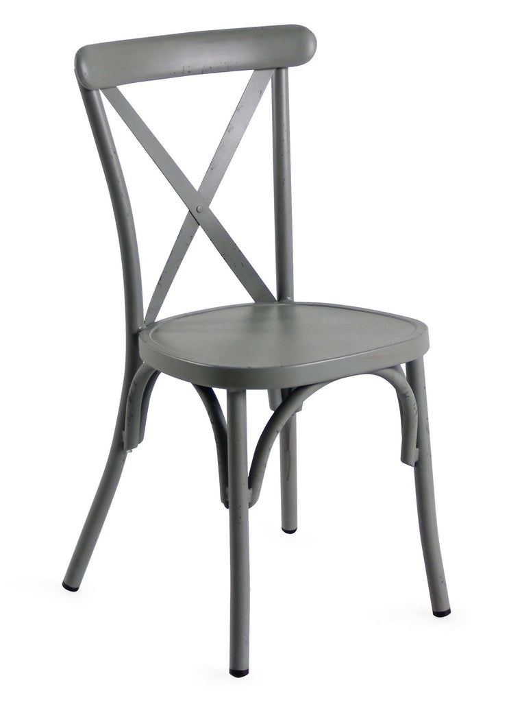 Retro Grey Aluminium Cross Back Chair Set Of 2