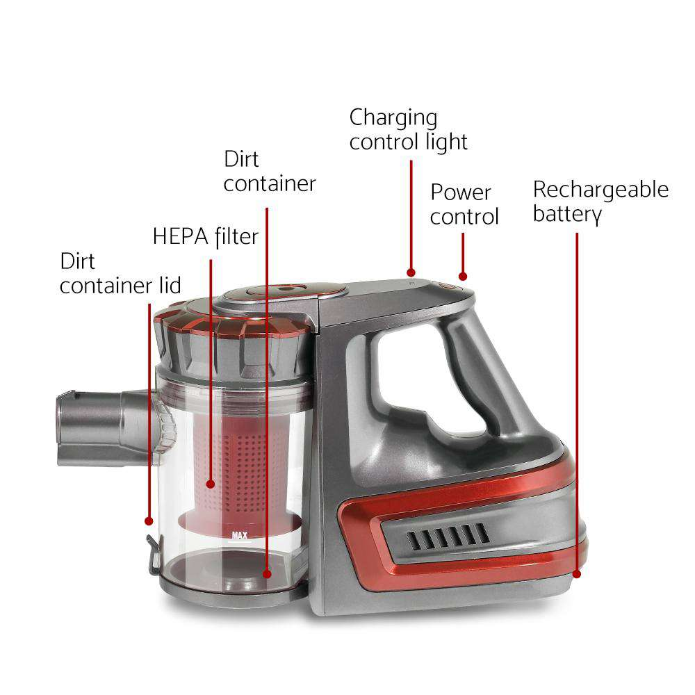 Devanti 150 Cordless Handheld Stick Vacuum Cleaner 2 Speed   Red And Grey