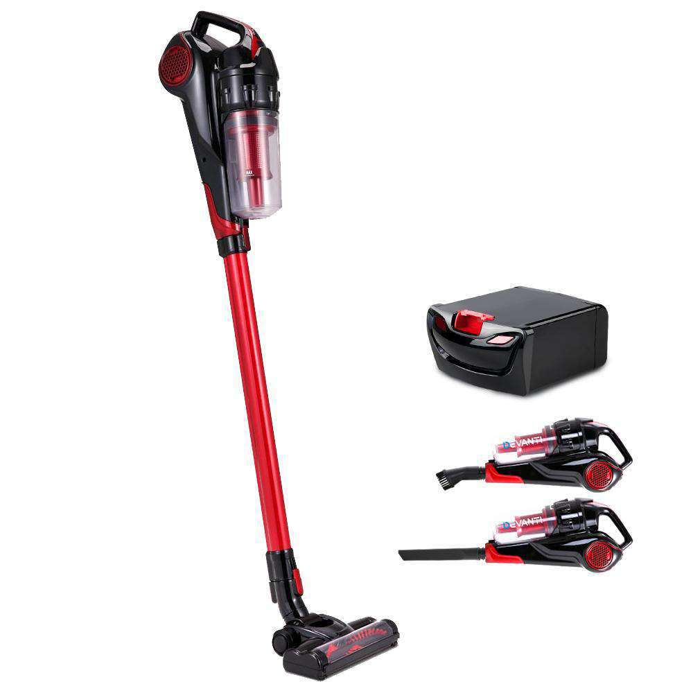 Devanti 120W Stick Handstick Cordless Vacuum Cleaner Red Black with Spare Battery