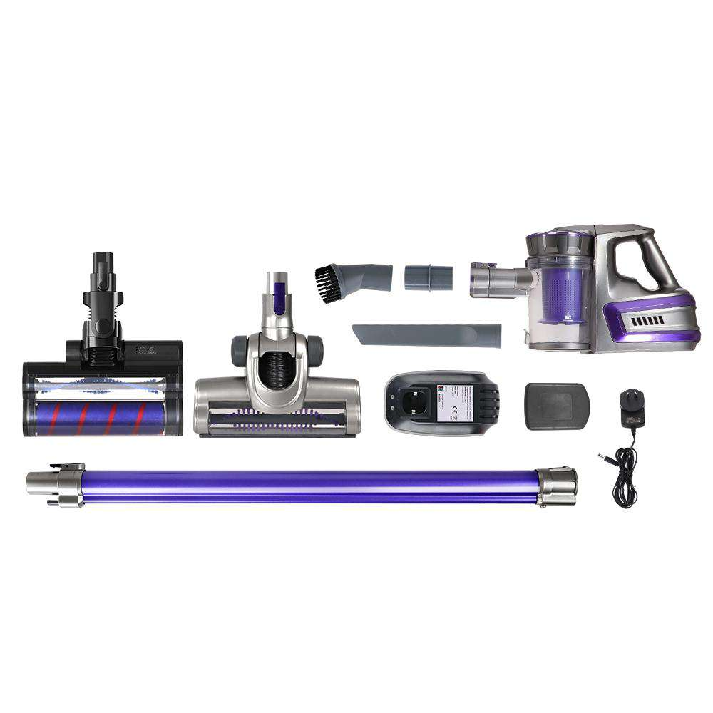 Devanti 150W Stick Handstick Handheld Cordless Vacuum Cleaner 2-Speed with Headlight Purple