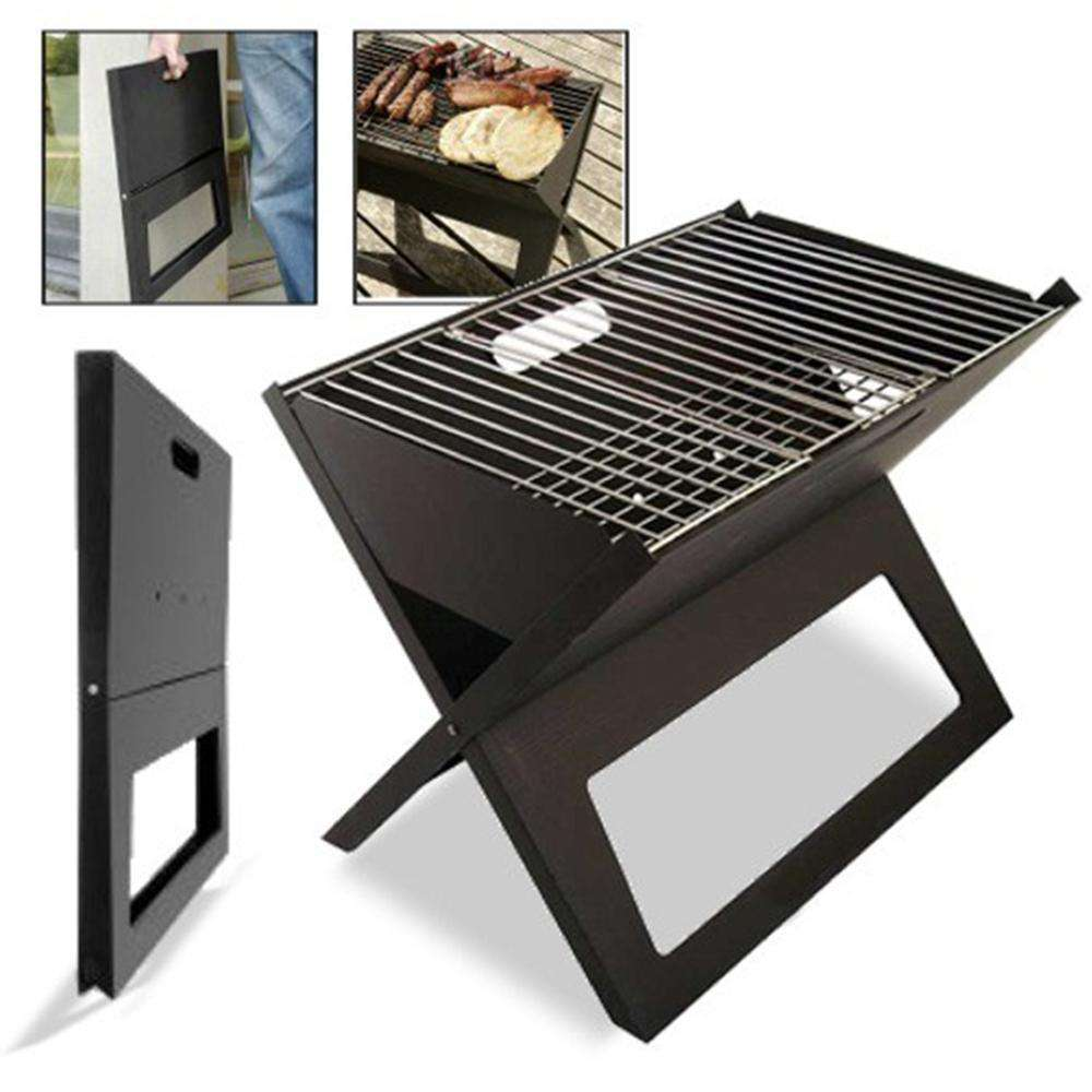 Portable Notebook Grill BBQ Foldable Folding Charcoal Camping Barbecue Picnic - Desirable Home Living