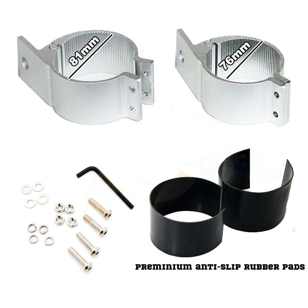 PAIR Silver Bullbar Mounting Bracket Clamp 76-81mm For LED Light Bar HID ARB - Desirable Home Living
