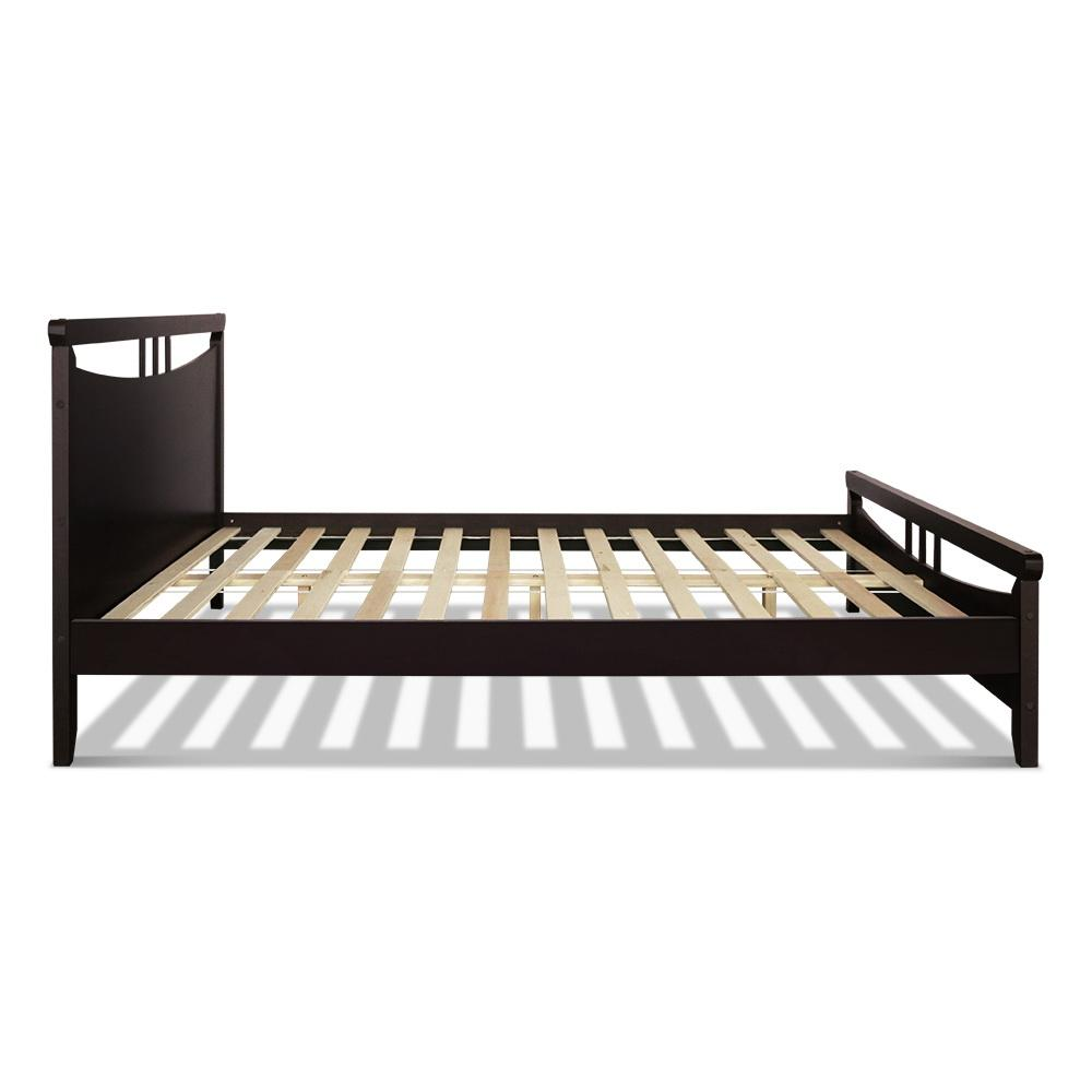 Artiss King Size Wooden Bed Frame - Dark Cherry
