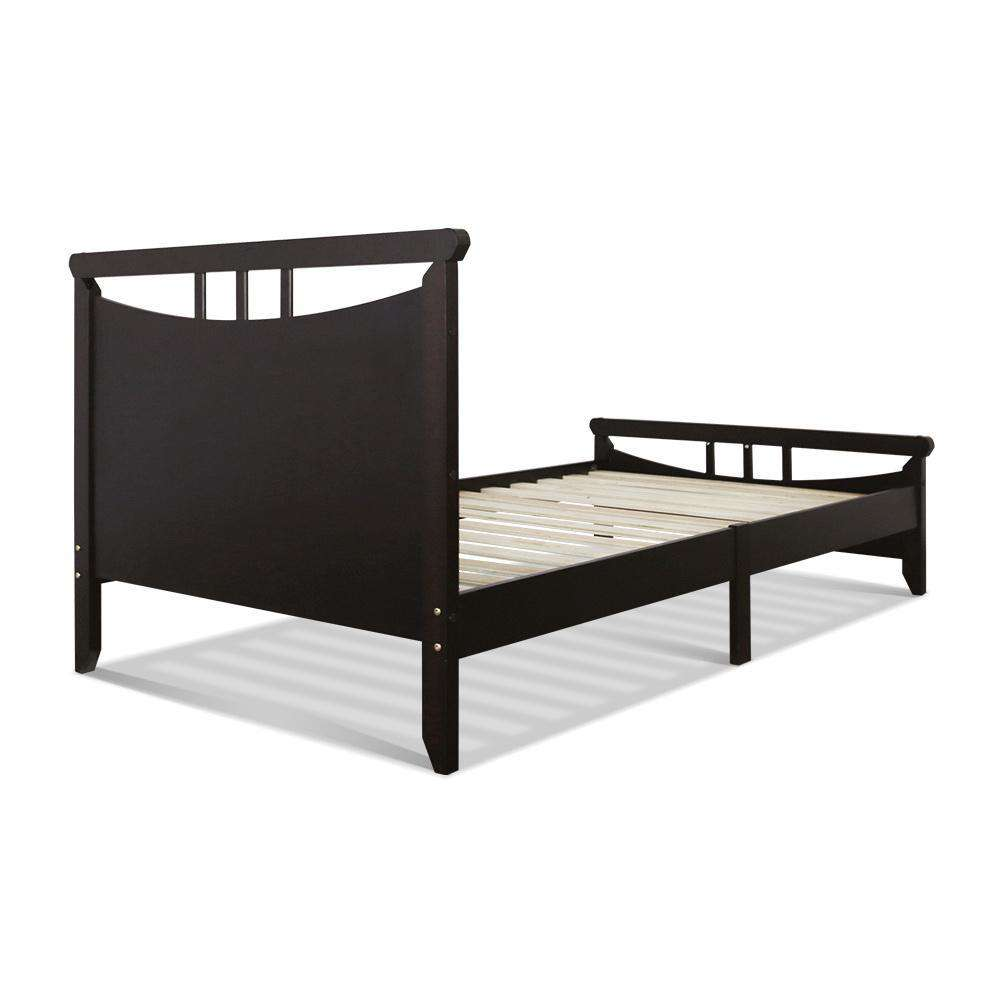 Artiss Single Size Wooden Bed Frame - Dark Cherry
