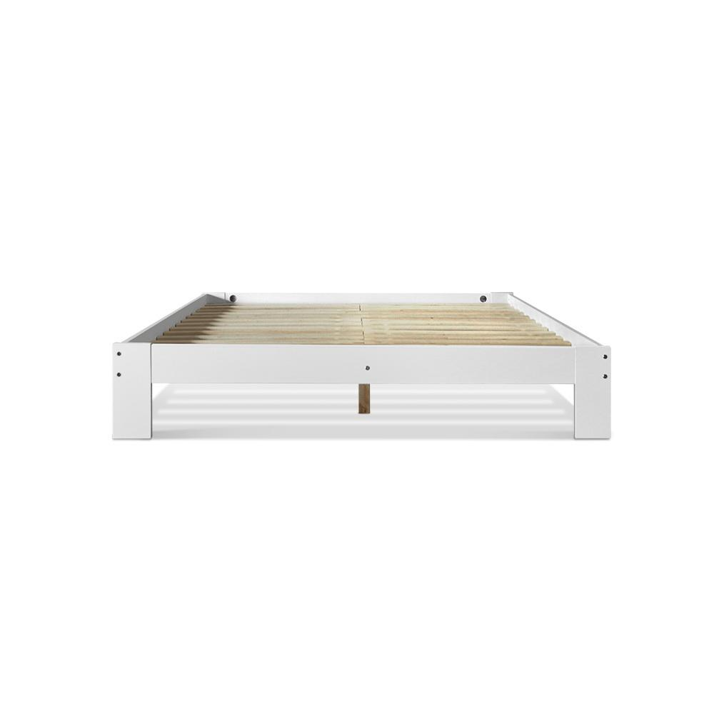 Artiss Double Wooden Bed Frame Base - White