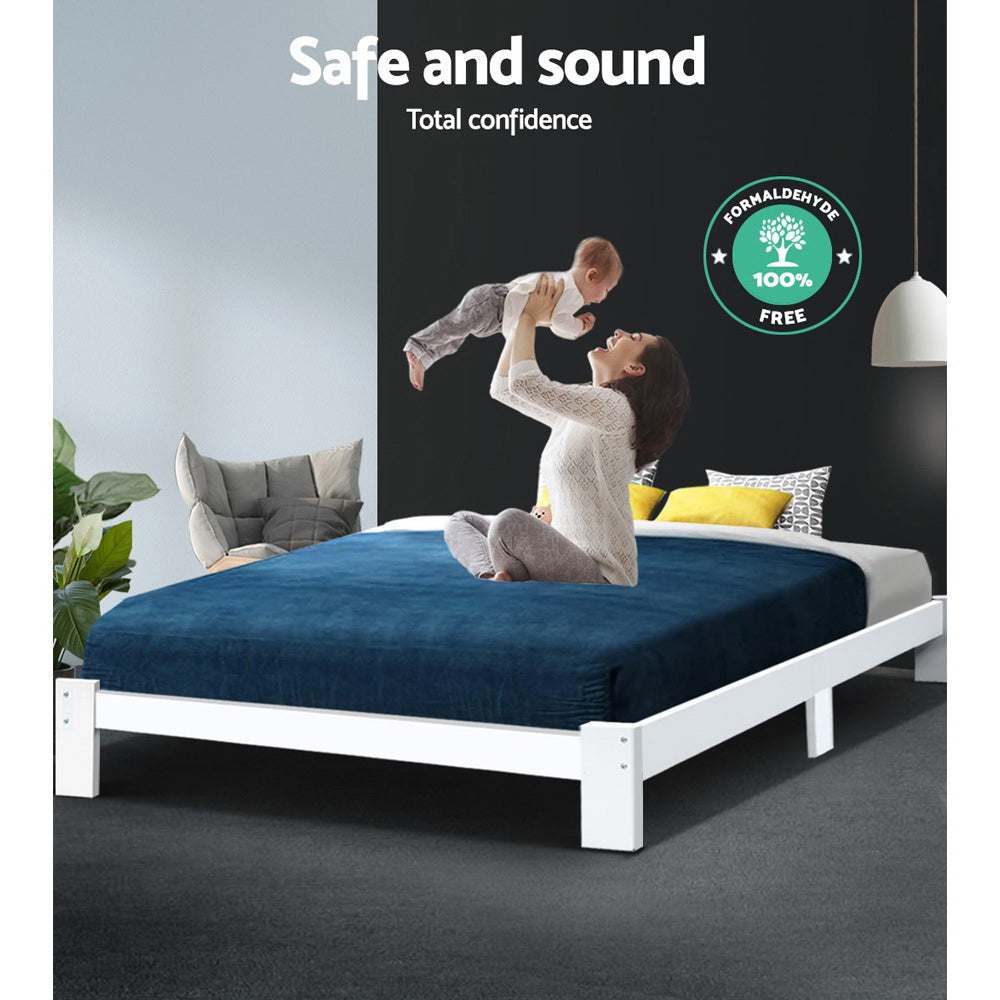 Artiss Queen Wooden Bed Base Frame Size JADE Timber Foundation