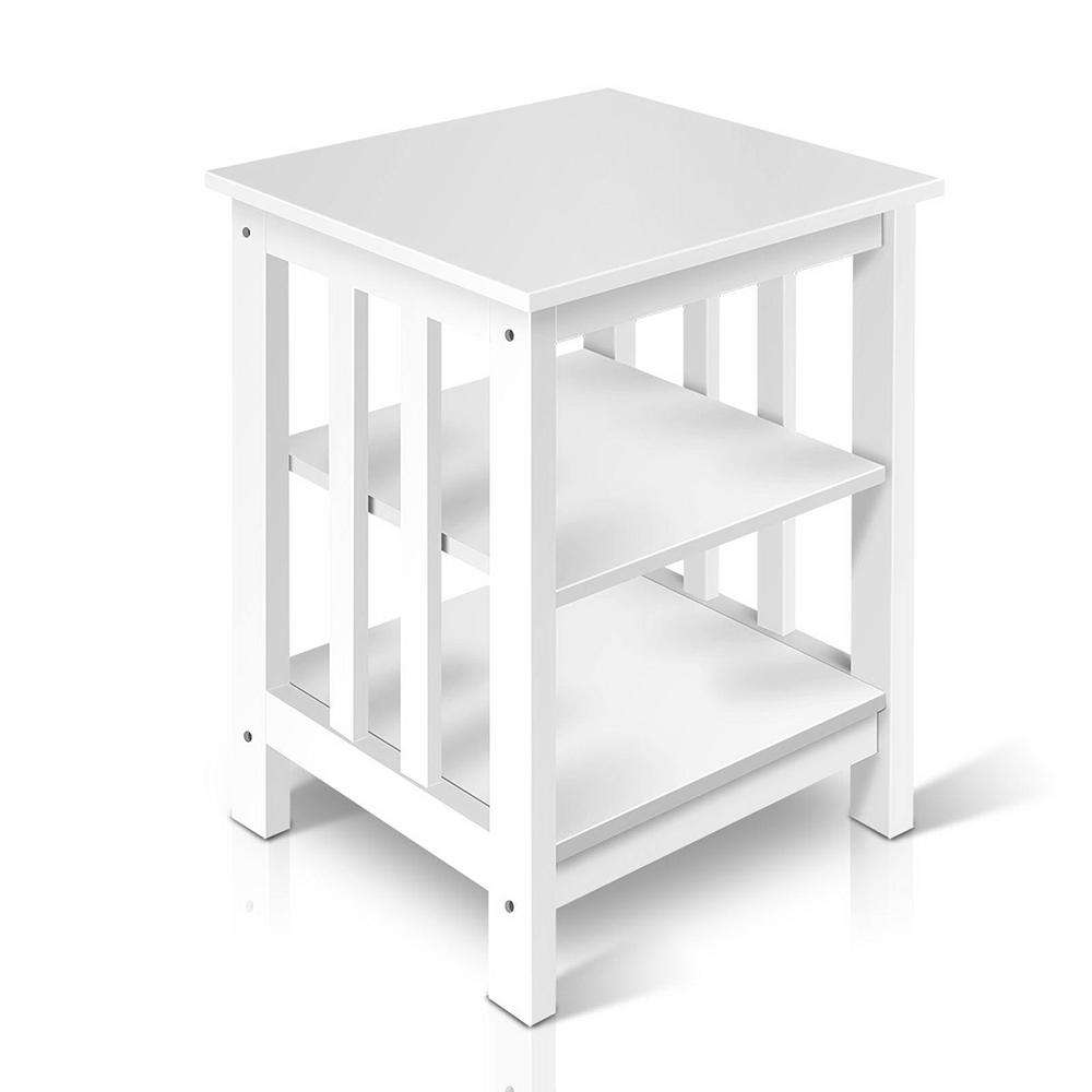 Artiss Bedside Coffee Table Timber 3 Tier Shelf Wooden White