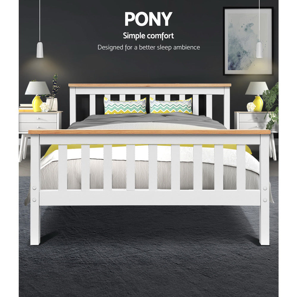 Artiss Double Full Size Wooden Bed Frame - PONY