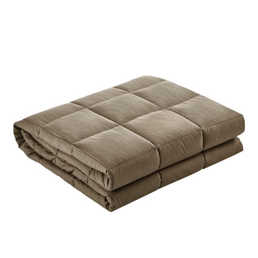 Giselle Bedding Cotton Weighted Blanket Heavy Gravity Deep Relax Sleep Adult 5KG Brown