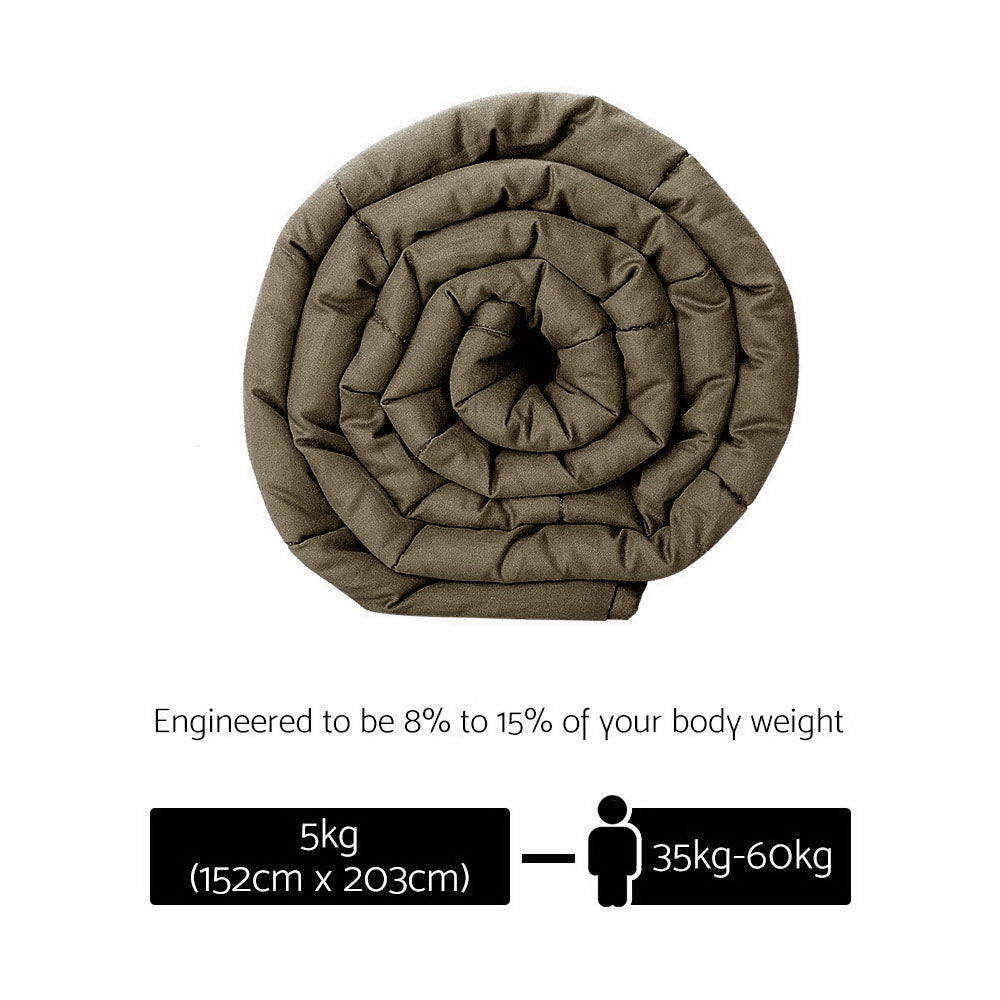 Giselle Bedding Cotton Weighted Blanket 5KG Brown