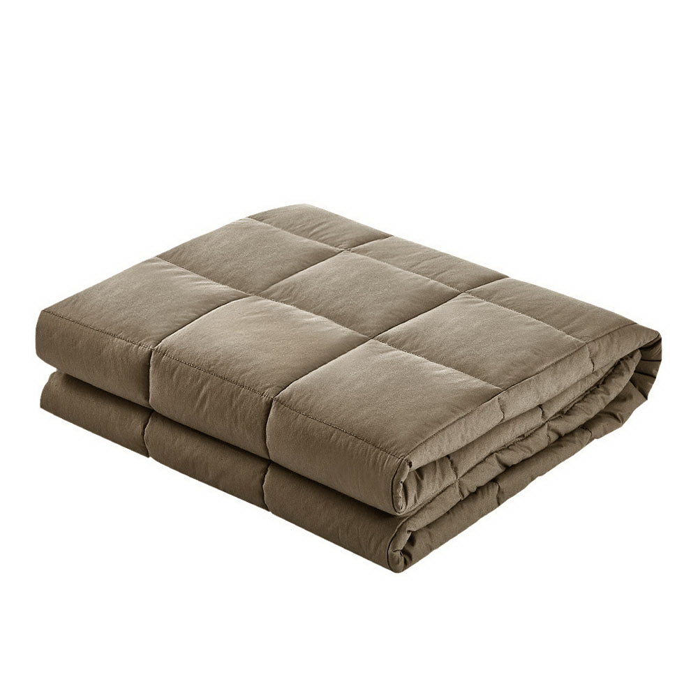 Giselle Bedding 9KG Cotton Weighted Blanket Brown